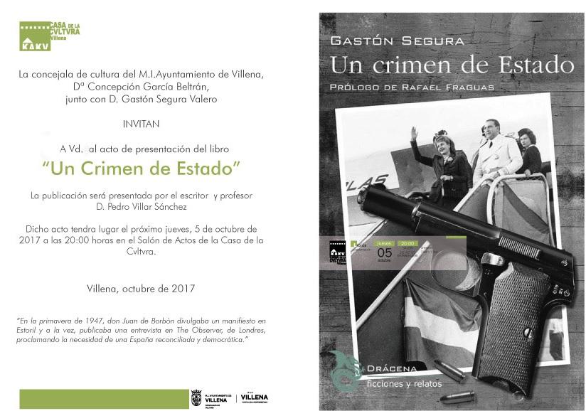 Presentación de Un crimen de Estado en Villena